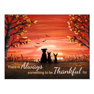 感謝している秋の日没常に ポストカード