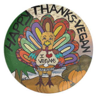 感謝ビーガンの感謝祭のトルコの幸せなプレート プレート