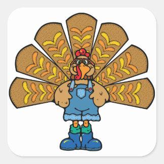 感謝祭によって服を着せられるトルコ スクエアシール