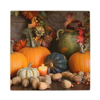 感謝祭のための静物画の収穫の装飾 ウッドコースター