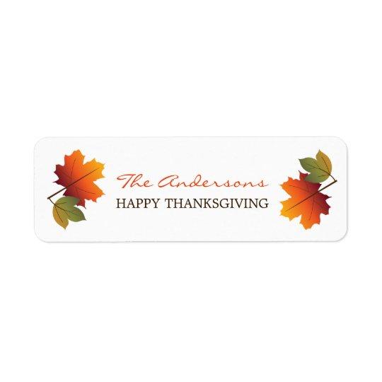 感謝祭のカラフルな紅葉のギフトのラベル 返信用宛名ラベル