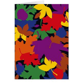感謝祭のカラフルな紅葉の落下 カード