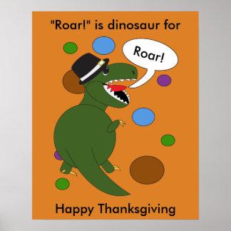 感謝祭のティラノサウルス・レックスのレックスの恐竜 ポスター