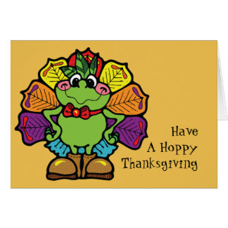 感謝祭のトルコのカエル カード