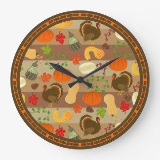感謝祭のトルコの南瓜の秋の収穫パターン ラージ壁時計