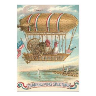 感謝祭のトルコの熱気の気球米国の旗 カード