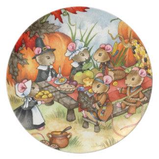 感謝祭のネズミ-かわいいプレート プレート