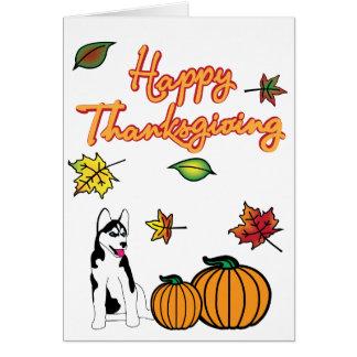 感謝祭のハスキーな挨拶状 カード
