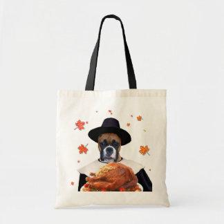 感謝祭のボクサー犬のトートバック トートバッグ
