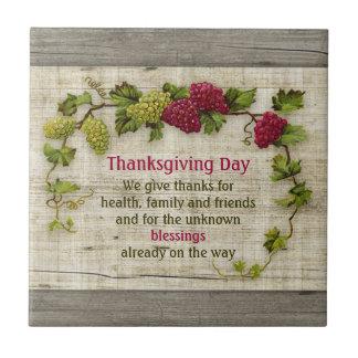 感謝祭のモットーおよびヴィンテージのブドウ タイル