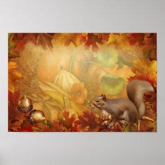 感謝祭のリスポスター ポスター