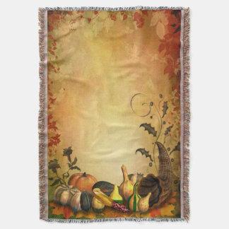 感謝祭の収穫によって編まれるブランケット スローブランケット