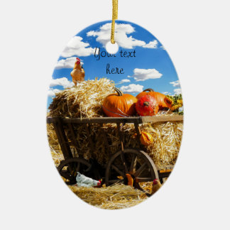 感謝祭の収穫ワゴン セラミックオーナメント