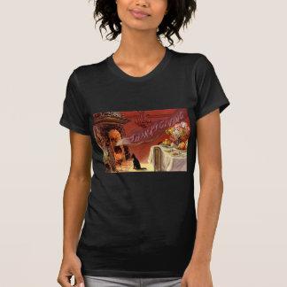 感謝祭の夕食の黒猫の暖炉トルコ Tシャツ