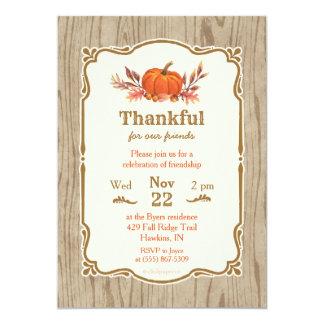 感謝祭の感謝している秋のカボチャ招待状 カード