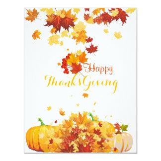 感謝祭の秋の落ちる葉およびカボチャ カード