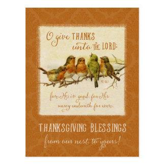 感謝祭の聖なる書物、経典の鳥-ヴィンテージの再生 ポストカード