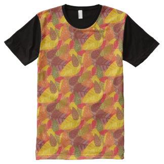 感謝祭の葉 オールオーバープリントT シャツ