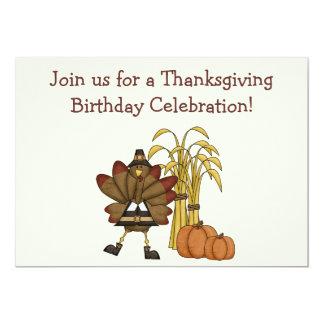感謝祭の誕生日の招待状-男の子 12.7 X 17.8 インビテーションカード