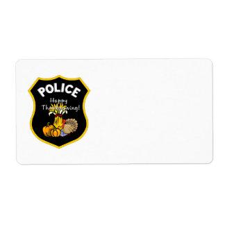 感謝祭の警察 ラベル