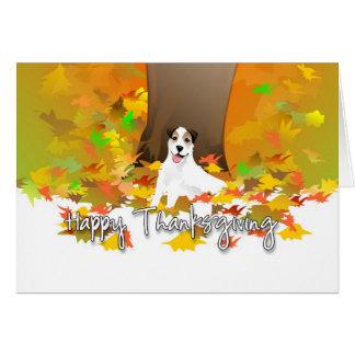 感謝祭カード-ジャックラッセル犬の紅葉 カード