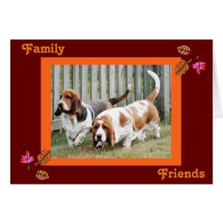 感謝祭カードw/Bassets、友人及び家族 カード