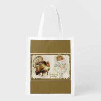 感謝祭トルコおよび小さな女の子の金ゴールド エコバッグ