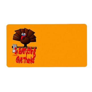 感謝祭トルコ-すべてで…感謝を与えて下さい ラベル
