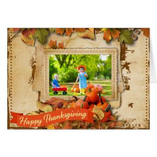 感謝祭日の写真の挨拶状 カード