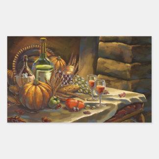 感謝祭日の郵便はがき 長方形シール