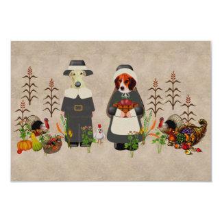 感謝祭犬 8.9 X 12.7 インビテーションカード