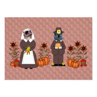 感謝祭猫 12.7 X 17.8 インビテーションカード