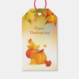 感謝祭、カボチャ、かえでの葉 ギフトタグ