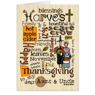 感謝祭Wordcloud -叔母さん及び叔父さん カード