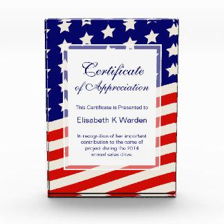 感謝賞の米国旗の証明書 表彰盾