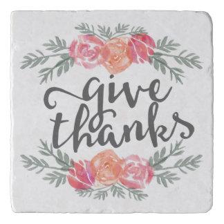 感謝|の水彩画の花柄の感謝祭を与えて下さい トリベット
