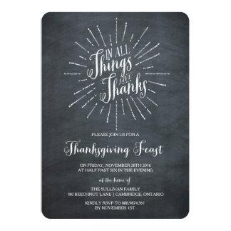 感謝 の黒板の感謝祭の招待状を与えて下さい 12.7 X 17.8 インビテーションカード