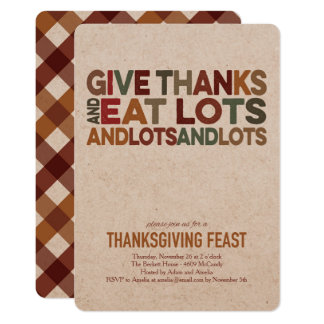 感謝-感謝祭の招待状--を与えて下さい 12.7 X 17.8 インビテーションカード