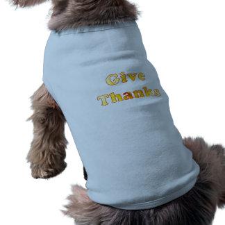 感謝、黄色いユリ、犬のワイシャツとの単語の芸術を与えて下さい ペット服
