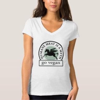 慈悲深い肉は神話です-ビーガンは行きます Tシャツ