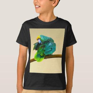 態度の緑のオウムのフード付きスウェットシャツの服の写真 Tシャツ