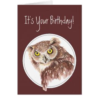 態度の鳥のユーモアのカスタムでおもしろいな誕生日のフクロウ カード