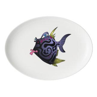 """態度の""""パッファー""""の魚 磁器大皿"""