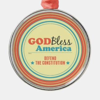 憲法を守って下さい シルバーカラー丸型オーナメント