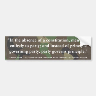 憲法及びパーティーの引用文のトマス・ペインの不在 バンパーステッカー