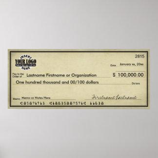 懸賞及び賞によって老化させる一見のための白地式小切手 ポスター