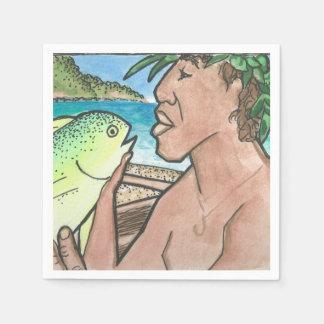 成功したハワイの漁師 スタンダードカクテルナプキン