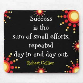 成功の引用語句の黒のマウスパッド マウスパッド