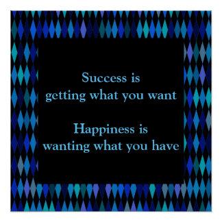 成功の感動的な引用文の暗藍色のデザイン ポスター