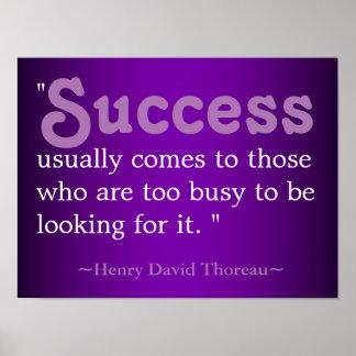 成功の生命引用文| Thoreau ポスター